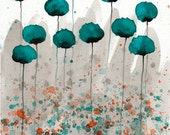 Watercolor Painting: Watercolor Flower Painting - Art Print - Mister Muscle - Teal Watercolor Flowers - 8x10