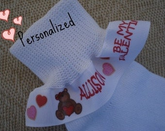 Personalized Valentine  Colorful Ribbon Ruffle Socks  OOAK for Pageant Tea Party