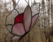 Stained Glass Pink Butterfly Garden Stake