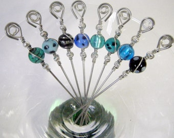 Multi-Colored Foil Filled and Polka Dotted Lampwork Beaded Stainless Steel Cocktail Picks Appetizer Picks Martini Skewers Barware Set of 8