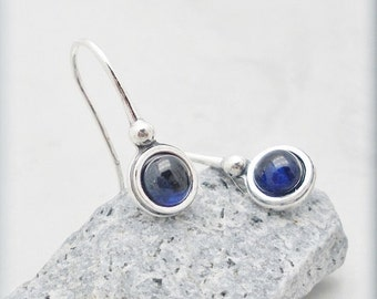 Blue Sapphire Earrings Sterling Silver Gemstone Jewelry (SE993)