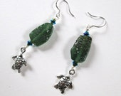 Sea Glass Earrings with Sea Turtles