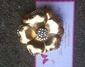 Gold Sparkle Flower Single Hair Clippie Barrette Non Slip