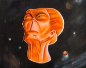 """Contemplation Study 8.5 x 11"""" print by Ray Young Chu (Alien Looking Into Space Thinking About Our Existence)"""