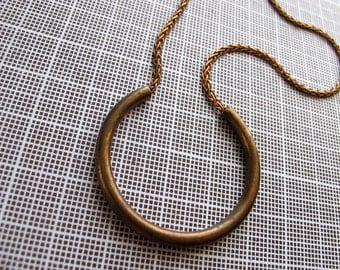 Curved Bar Necklace - Brass Necklace - Vintage Metal Necklace -  Copper Chain - Simple Necklace - Rustic Jewelry - Choose Your Length