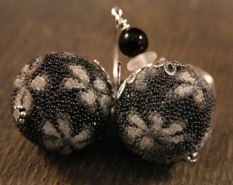 SALE Black and white flower earrings, large glass beads and silver handmade earrings