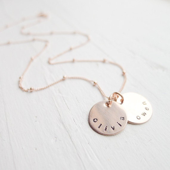 Personalized rose gold necklace rose gold name necklace pink for Rose gold personalized jewelry