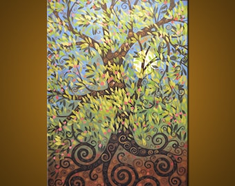 Large Original Abstract Painting Modern Contemporary Trees ... 24 x 36 ... Menagerie in the Garden