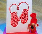 Winter Mittens Letterpress Christmas Holiday Cards