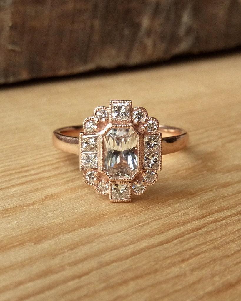 emerald cut sapphire and diamond halo ring. Black Bedroom Furniture Sets. Home Design Ideas