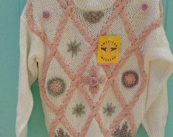 Sale AMERICAN WEEKEND vintage 1980's flower sweater NWT really cute. shoulder pads