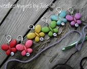 crochet stitch markers set of six F G H I J K rainbow butterfly stitch markers stitch holder hook size for works in progress