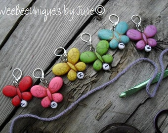 crochet stitch markers set of six F G H I J K rainbow butterfly stitch markers stitch holder hook size for works in progress
