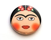 Frida Kahlo One Inch Pinback Button, Magnet, or Keychain
