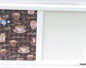 Coffee Time White Framed Cork board, Dry Erase White Board, 17x11 Bulletin Board, Tack Board, White Board Message Center, Kitchen Decor