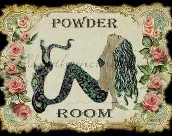 Pretty Powder Room Mermaid