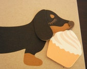 Teriyaki the Dachshund Doxie Birthday Cupcake Card with Envelope