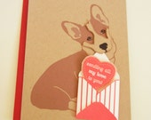 Valentine Jer Jer the Welsh Corgi with Mini Envelope and Felt Heart Valentine's Day Note Card with Envelope