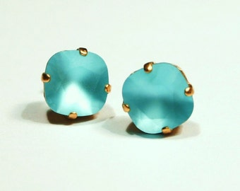 Matte Turquoise Blue Crystal Stud Earrings Classic Sparkling Aqua Solitaire Swarovski 10mm Sterling Silver Post & Copper Women's Jewelry