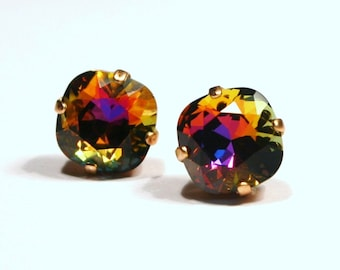 Shimmering Rainbow Crystal Stud Earrings Bermuda Blue Pink Orange Sunset Swarovski 10mm Sterling Silver Post - Women's Jewelry Copper Golden