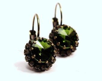 Moss Green & Golden Crystal Earrings Olivene Dark Olive Swarovski 8mm Studded Rhinestone Crown Victorian Art Deco Romantic Brass Dangle Drop