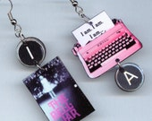 Book Earrings - The Bell Jar Sylvia Plath - Typewriter key jewelry - literary students librarians readers gift - earring Designs by Annette