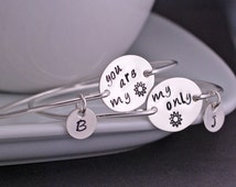 You are my Sunshine Bracelet Personalized Mother Daughter Bracelet Set, Sterling Silver My Only Sunshine Christmas Gift