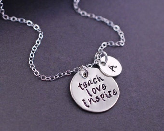 Teach Love Inspire Necklace, Personalized Teach Gift, Teacher Necklace