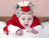 Santa's Reindeer Hat Baby Photography Prop, READY TO SHIP