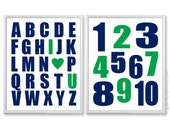 Kelly Green and Navy Blue Boys Nursery Wall Art, Alphabet and Numbers Print Set, Boys Room Decor Abc 123, Navy and Green 8x10, 11x14