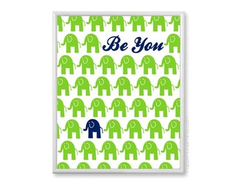 Elephant Nursery Art, Navy and Green Nursery Decor, 11x14 Print - Inspirational Kids Quote, Nursery Wall Art