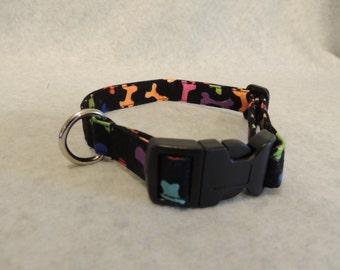 "Medium Dog Collar  3/4"" Wide 11-15"" or 4 Foot Leash Bones"