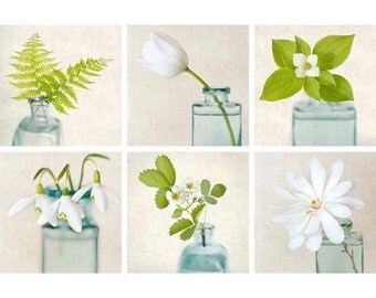 Photo Print Set, Green, White, Aqua, Teal, Floral Wall Art, Flower Photography, Photography Set, Print Set