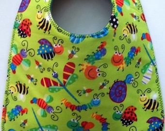 Going Buggy Baby Bib:  Beetles, Caterpillars, Dragonflies, Snails, and Ladybugs