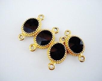 Lovely Higer Quality Vintage Bezel Set Black Glass Connectors in Gold Tone Metal
