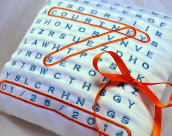 Word Search Wedding  Ring Pillow