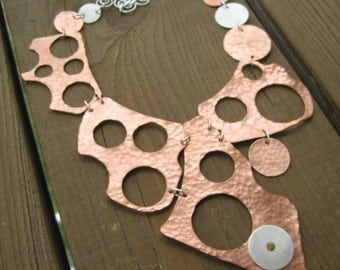 Puzzled, Sterling Silver, Copper Asymmetrical Necklace