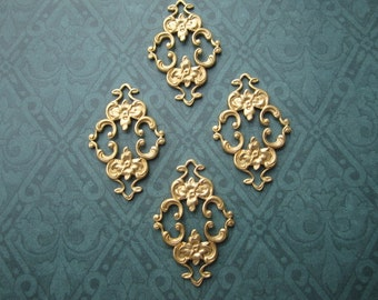 Filigree Floral Scroll Connectors Brass Jewelry Supplies on Etsy Quantity Choice