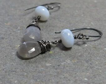 Gray Moonstone Earrings Blue Opal Earrings October Birthstone Earrings Oxidized Sterling Silver Earrings