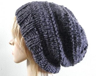 Slouchy hat in charcoal grey gray chunky alpaca wool blend unisex hand knitted men women teen unisex urban oversized beanie