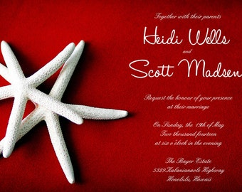 25 cards per set- wedding card invitations  - White Starfish on red