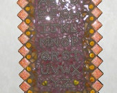 Mosaic Plaque-Mixed Media Stained Glass-Pink Alphabet ABC