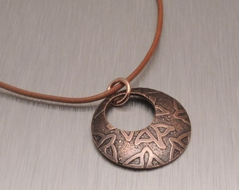 Etched Copper Pendant - Copper Bird Pendant - Adjustable Leather Cord