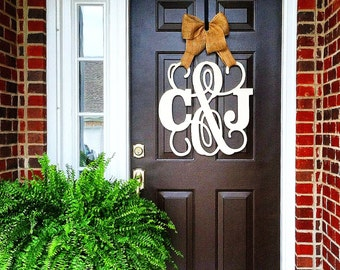 Custom MONOGRAM ampersand door hanger / BURLAP bow/ NEUTRAL/Block and Script24 inch wreath/chevron/Initial/wooden/wedding gift/front door
