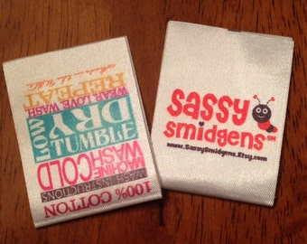 Custom Satin Clothing Labels - Sewing Tags - Digitally Printed - 100 - UNLIMITED COLORS - Made in USA