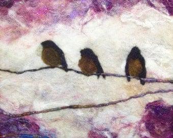 No. 769 Three on a Limb - Needlefelt Art XL  Wool Painting