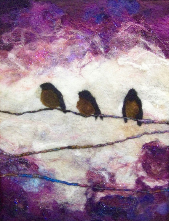 N° 769 trois sur une branche - peinture Art XL laine feutre aiguilleté