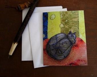 Grey Kitty Slumber, illustrated blank card, cozy grey cat sleeping, cat lover, flat matte finish
