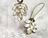 Vintage Rhinestone Earrings, Sparkling Vintage Stones and Brass Earrings