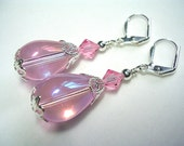 Pink Earrings Crystal Earrings Swarovski Earrings Pink Rose Dangle Teardrop Earrings Leverback Hooks Wire Wrapped